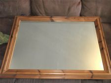 "GOOD SIZE MIRROR WITH 2.75"" WIDE SOLID PINE FRAME 35"" X 25"""